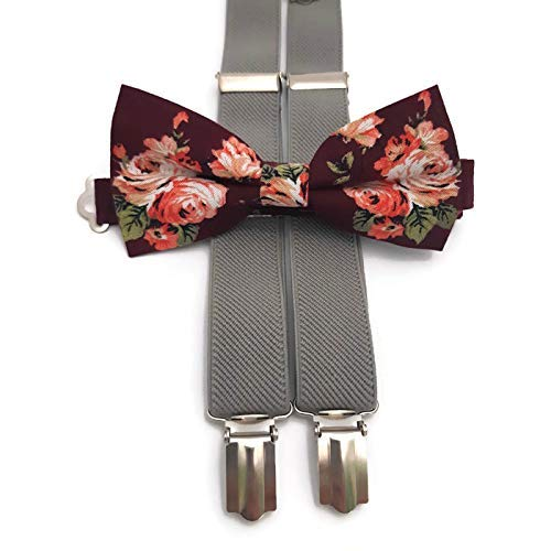 3d5e5a6a83b83 Amazon.com: Burgundy floral bow tie in roses and GRAY elastic Y-back ...