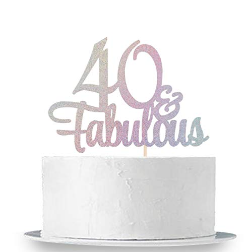 INNORU Laser Multi-Color Glitter 40 & Fabulous Cake Topper - 40th Birthday Party Decoration Sign
