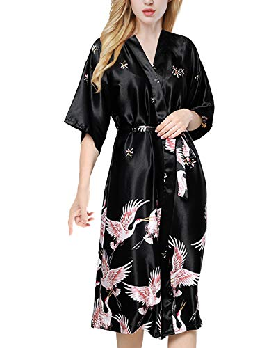 ETAOLINE Womens Satin Kimono Robe Printed Bathrobes Bridal Dressing Gown Black