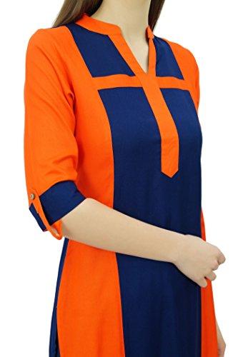 Phagun Mujeres rayón recta Panel Kurta verano ocasional túnica de la blusa Naranja y azul