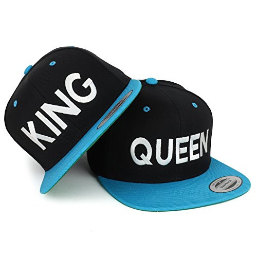 Trendy Apparel Shop King and Queen White Embroidered Flat Bill 2-Tone Ball Cap - 2pc Set - Black Teal by Trendy Apparel Shop