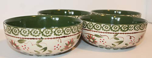 TEMPTATIONS Old World Green Soup Cereal Bowls SET/4 Presentable Ovenware