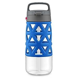 Ello Skylar Tritan Plastic Water Bottle, Blue/Grey, 16 oz.