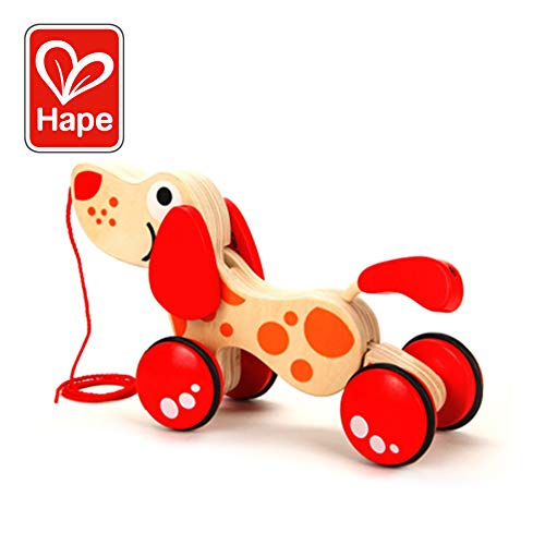 (Walk-A-Long Puppy Wooden Pull Toy by Hape | Award Winning Push Pull Toy Puppy For Toddlers Can Sit, Stand and Roll. Rubber Rimmed Wheels for Easy Push and Pull Action, Red )