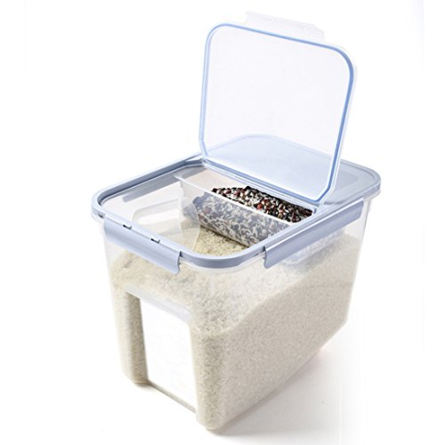 Petforu Rice Container, Rice Food Storage Box Kitchen Organization with Measuring Cup + Suspended Box, Hold 10 Kilograms of Rice [Blue]