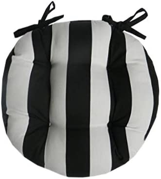 Resort Spa Home Decor Indoor Outdoor Round Tufted Bistro Cushion with Ties – Black and White Stripe Fabric – Choose Size 18