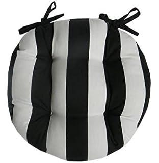 amazon com indoor outdoor round tufted bistro cushion with ties
