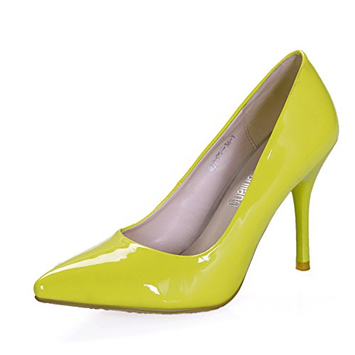 Amoonyfashion Womens Pu Pointu Fermé Orteils Pointes-stilettos Tirer Sur  Des Pompes Solides Chaussures Jaune
