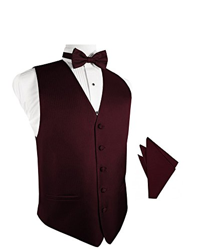 Merlot Herringbone Tuxedo Vest with Bowtie & Pocket Square Set ()