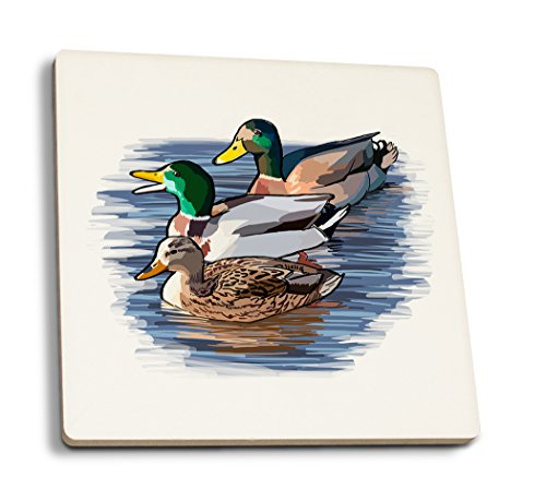 Lantern Press Ducks - Icon (Set of 4 Ceramic Coasters - Cork-Backed, Absorbent)