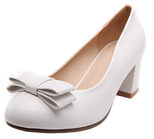 Pumps White Toe Heels AllhqFashion Round Solid Shoes 40 On Women's Pull PU Kitten 4pFxawqU