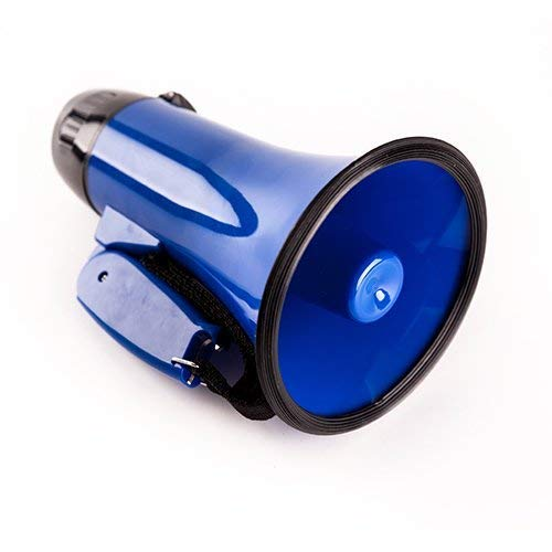 Sugar home Portable Megaphone 20 Watt Power Megaphone Speaker Bullhorn Voice And Siren/Alarm Modes With Volume Control And Strap (blue) ()