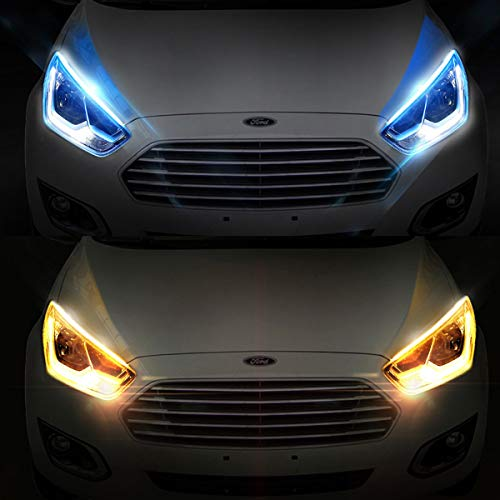 2Pcs 18 Inches Ultrathin LED Strip Lights DRL Daytime Running Headlight Ice blue-Amber Dual Color Waterproof Flexible LED Tube Side Signal Light No need to remove the headlightsEasy Paste Install(45CM