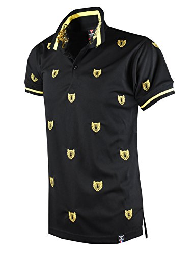 SCREENSHOT SCREENSHOTBRAND-S11816 Mens Hipster Hip-Hop Premium Tees - Stylish Fashion Tiger Head Embroidery Polo T-Shirt - Black-Large