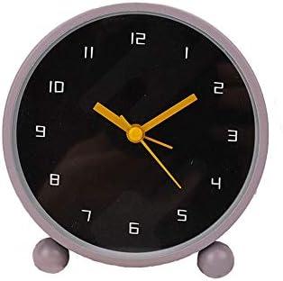 独立したシンプルな丸い目覚まし時計学生目覚ましアラーム家の寝室のテーブル振り子時計ブティック目覚まし時計11 * 11 cm-ウォームグレー