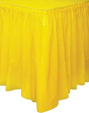 Unique Party- Falda de mesa de plástico, Color amarillo, 420 cm ...