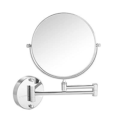 Wall Mount Makeup Mirror, Cozzine 10x Magnifying Two Side Vanity Extendable Bathroom Mirror, Chrom Finish