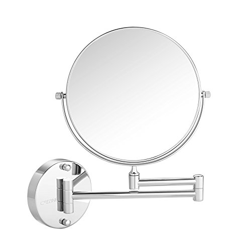 Cozzine Wall Mount Makeup Mirror, 10x Magnifying Two Side Vanity Extendable Bathroom Mirror, Chrome (Days Wall Mirror)