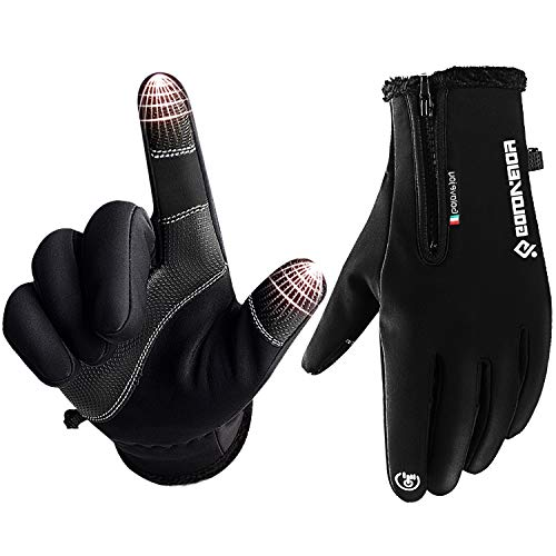 Venoro Winter Warm Gloves, Touch Screen Gloves Windproof Windproof Cold Weather Thermal Liner Gloves Outdoor Driving Running Cycling Skiing Gloves Women Men (Black, M)