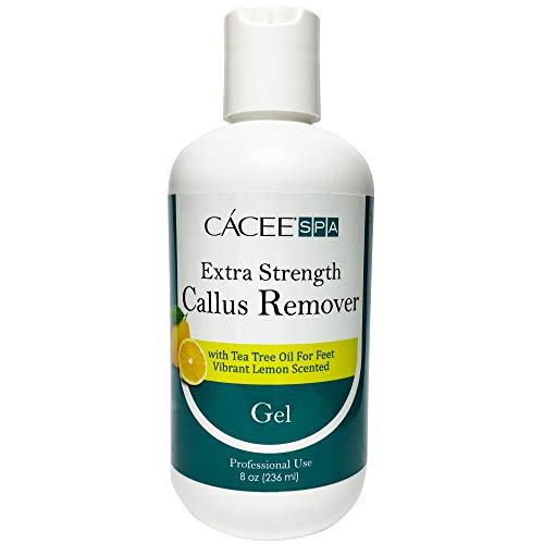 Cacee Callus Remover for Feet 8oz, Gel Formula with Tea Tree Oil & Lemon Scent, Works Great with Foot Scrubber, Foot File, or Pumice Stone, Callous or Corn Remover