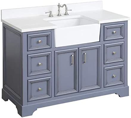 Amazon Com Zelda 48 Inch Bathroom Vanity Quartz Powder Gray Includes Powder Gray Cabinet With Stunning Quartz Countertop And White Ceramic Farmhouse Apron Sink Kitchen Dining