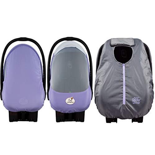 Cozy Combo Pack (Rhapsody Purple) - 'Sun & Bug Cover' Plus Summer 'Cozy Cover' Infant Carrier Covers - Trusted by Over 5 Million Moms Worldwide - Protects Your Baby from Mosquitos, Insects, The Sun