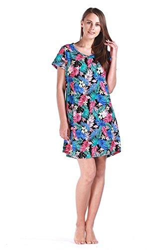 PNAEONG Women's Cotton Nightgown Casual Nights Sleepwear Short Sleeves Print Sleepshirt XTSY001-Flamingo-S