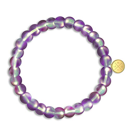 Life Token Shimmer Beads Glowing Glass Mermaid Moonstone Stretch Bracelet for Women Rainbow Violet Purple