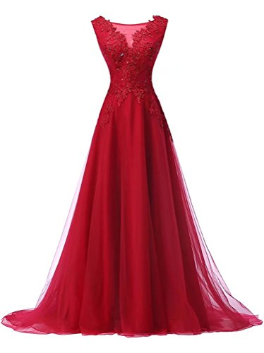 Dresses Tulle Sleeveless Evening Gown Women's AiniDress Red Prom Long TaqAwzI