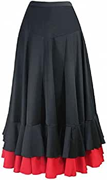 Falda de flamenco para mujer 2 volantes, color negro rojo (XXL ...