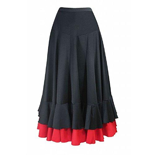 Falda de flamenco para mujer 2 volantes, color negro rojo