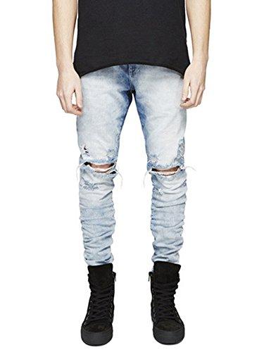 Cuciture Distrutto Skinny Fit Jeans Blu Pantaloni Uomo Decorative Sguardo vxZTEEqw