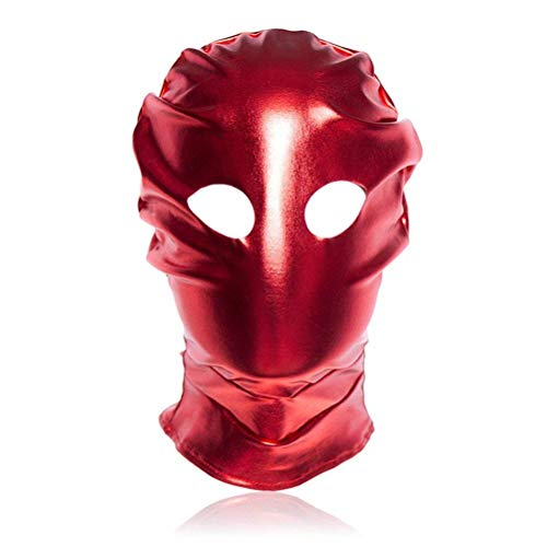Polymer Red Leather Costume Gimp Mask Open Eyes Leather Mask Couple Toys for Halloween Masquerade Party Cosplay for $<!--$18.51-->