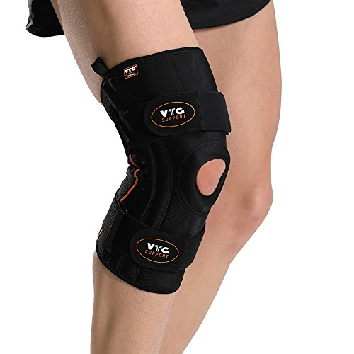 Knee Brace Neoprene Open Patella Support for Women Men Running Meniscus Tear Arthritis Tendonitis with Side Stabilizers Silicone Gel Pad Adjustable Compression Straps, XL