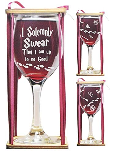 (I Solemnly Swear That I Am Up To No Good Stemmed Wine Glass with Charm and Presentation Packaging)