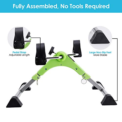 SYNTEAM Foldable Pedal Exerciser with LCD monitor bike exercise machine for Seniors-Fully Assembled, No Tools Required(Green) by Synteam (Image #4)