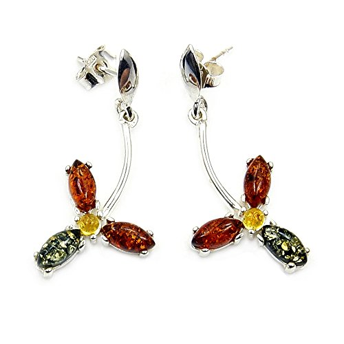 Passion Cognac - 'Passion Flower' Sterling Silver Natural Multicolor Baltic Amber Dangle Earrings