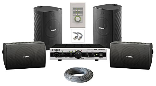 Yamaha VS4 Speaker Bundle with Yamaha MA2030 Mixer Amplifier, Volume Control and Installation Wire - Restaurant Sound System (Surface Mount, Black)