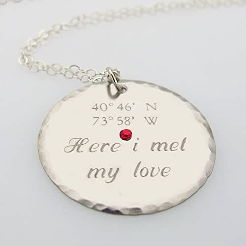 Gps Coordinates Necklace: Amazon.com: Custom Latitude Longitude Necklace