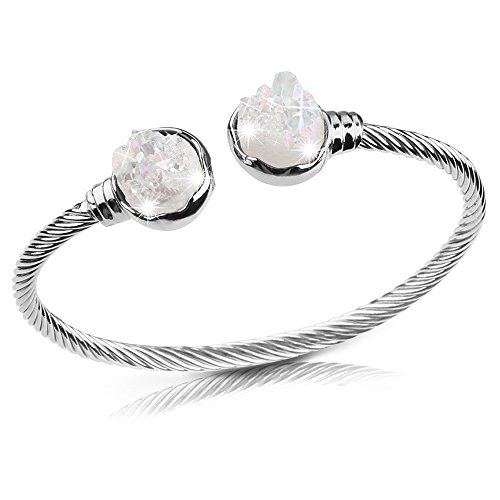 (Retro Shaw White Gold Plated Bangle Bracelet with Natural Crystals Gifts for Women and Girls Adjustable Charm Gemstone Jewelry)