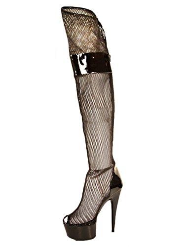 Ellie Shoes Women's 6 inch Peep Toe Thigh High Mesh Boot (Satin Mesh Thigh Highs)