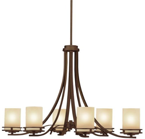 - Kichler 1673OZ Oval Chandelier 6-Light, Olde Bronze
