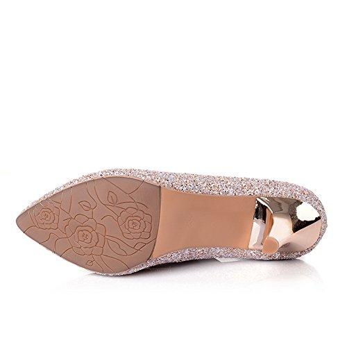 ... Balamasa Damene Sequin Electro Hæl Smoking Sko Mykt Materiale  Pumper-sko Gull
