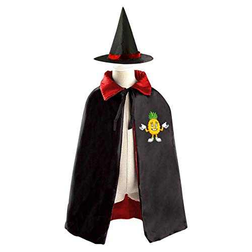 69PF-1 Halloween Cape Matching Witch Hat Funny Pineapple Wizard Cloak Masquerade Cosplay Custume Robe Kids/Boy/Girl Gift Red