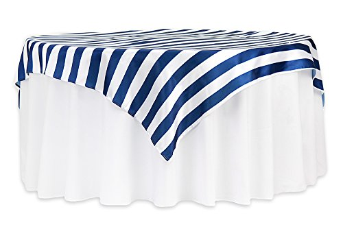 12 Pk, Stripe 72''x72'' Square Satin Table Overlay - Navy Blue & White by CVL