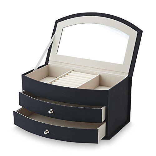 Jaclyn Smith Black Faux Suede Jewelry Box - Three Section Interior + Two drawers - Soft Velvet Interior - Vanity Mirror Under Lid by Jaclyn Smith
