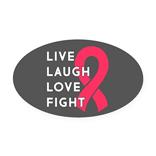 CafePress - Live Laugh Love Fight - Oval Car Magnet, Euro Oval Magnetic Bumper Sticker