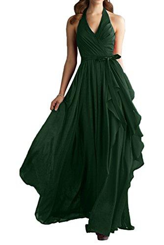 Gorgeous Bride Modern Neckholder Lang Empire Chiffon Abendkleider Festkleid Ballkleid Dunkelgrün