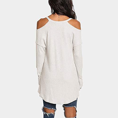 Shirt Vetements Blanc Col Chic Overmal Top Manches et Mode Sexy Chemise paule Unie Lache Crop Blouse Automne Haut t T Femmes Dcontracte Longue Top Rond Irrgulier Sweatshirts Couleur FwYqF