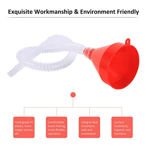 8cm Wide Mouth Fuel Funnel Universal Automotive Vehicle Plastic Filling Funnel Long Flexible Spout Extension Car Funnel for Water Gasoline Coolant Transmission Engine Oil (5pcs) by Keenso (Image #3)
